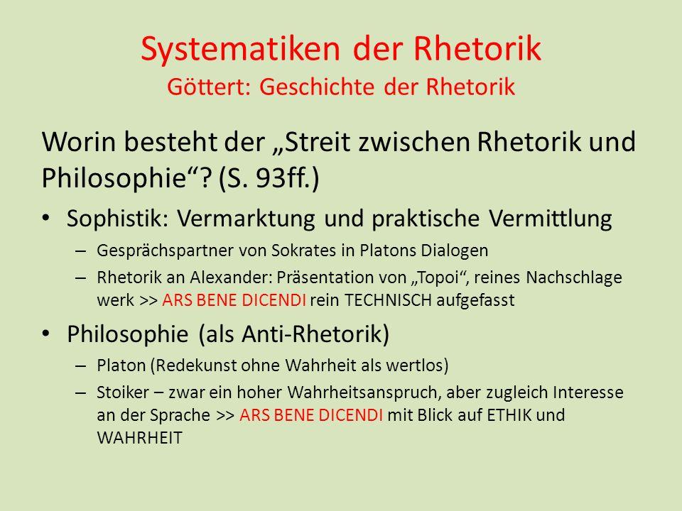 Systematiken der Rhetorik Göttert: Geschichte der Rhetorik Worin besteht der Streit zwischen Rhetorik und Philosophie? (S. 93ff.) Sophistik: Vermarktu
