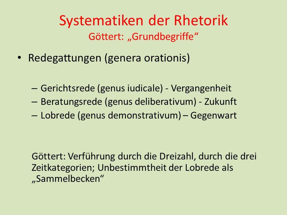 Systematiken der Rhetorik Göttert: Grundbegriffe Redegattungen (genera orationis) – Gerichtsrede (genus iudicale) - Vergangenheit – Beratungsrede (gen