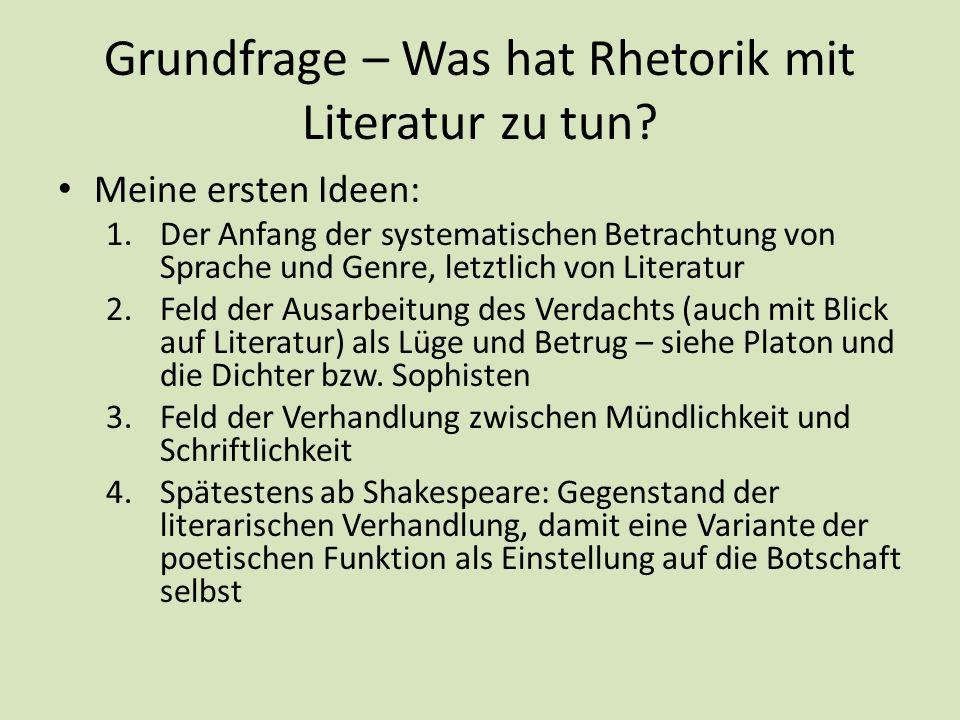 Grundfrage – Was hat Rhetorik mit Literatur zu tun? Meine ersten Ideen: 1.Der Anfang der systematischen Betrachtung von Sprache und Genre, letztlich v