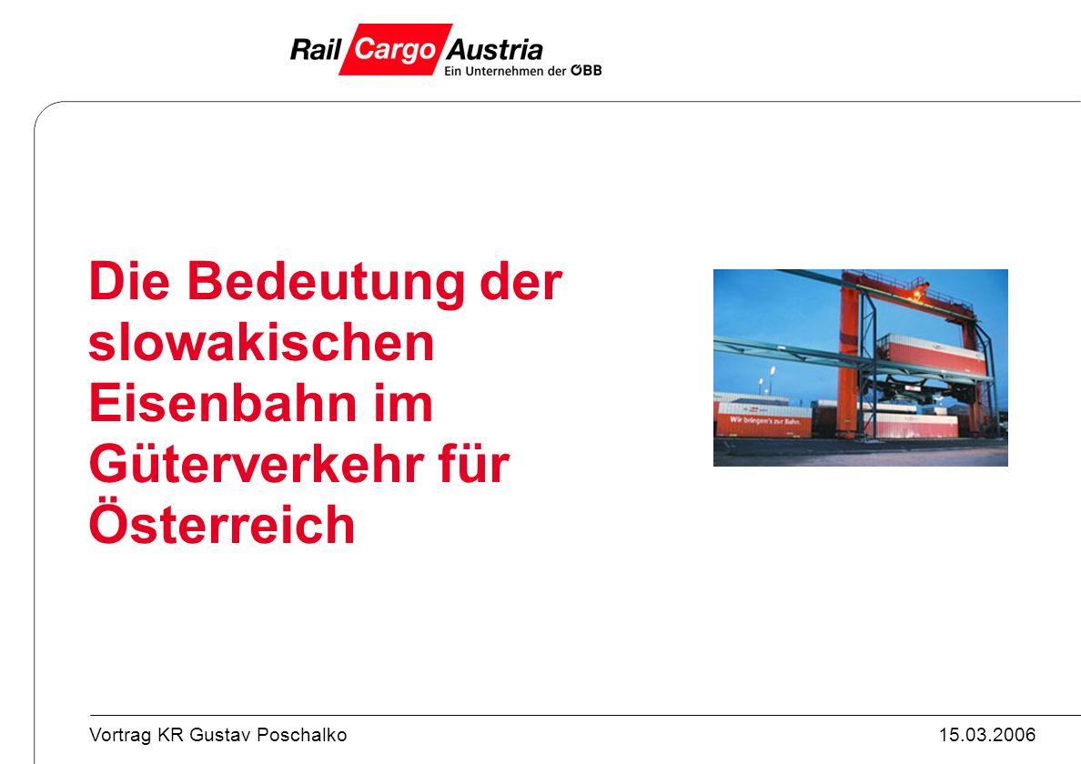 15.03.2006Vortrag KR Gustav Poschalko Die Bedeutung der slowakischen Eisenbahn im Güterverkehr für Österreich