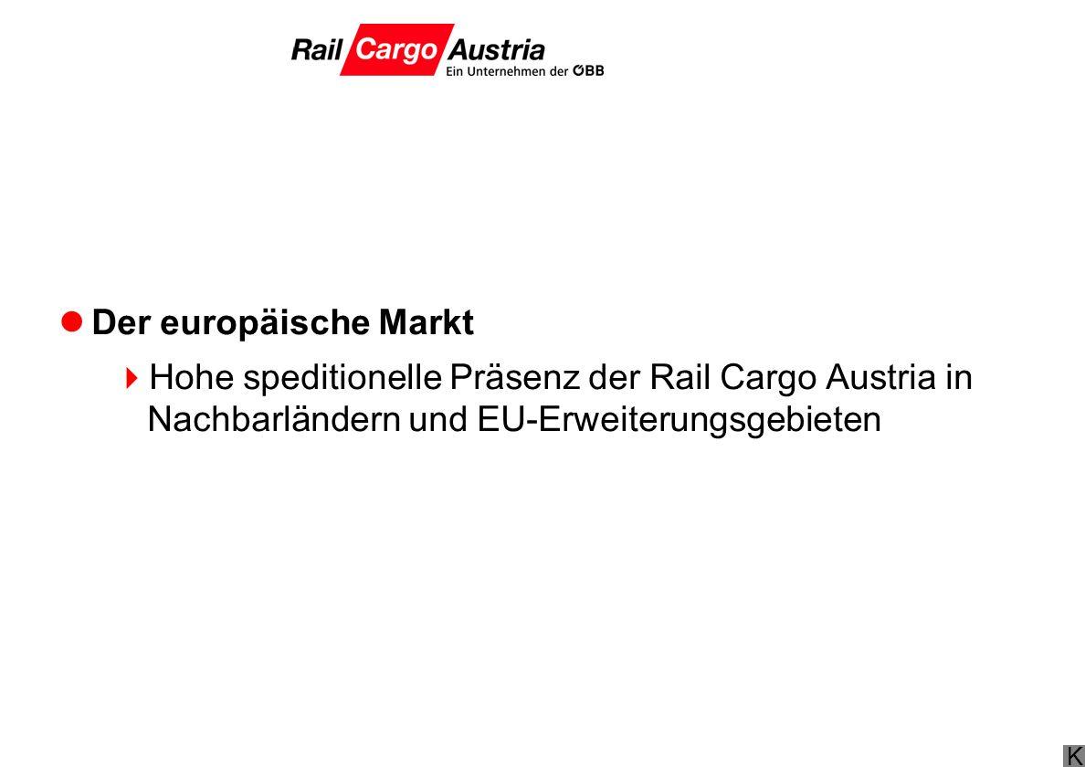 K Der europäische Markt Hohe speditionelle Präsenz der Rail Cargo Austria in Nachbarländern und EU-Erweiterungsgebieten