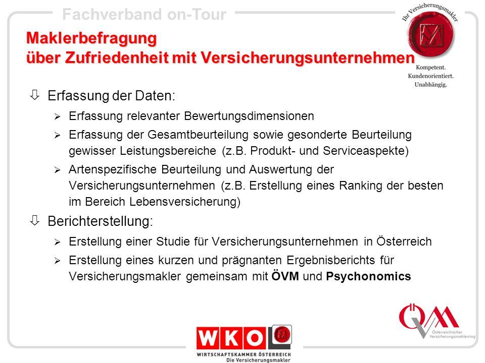 Fachverband on-Tour Internetkampagne Pensionsspot: Oktober 2004 Autoversicherung: Dez.