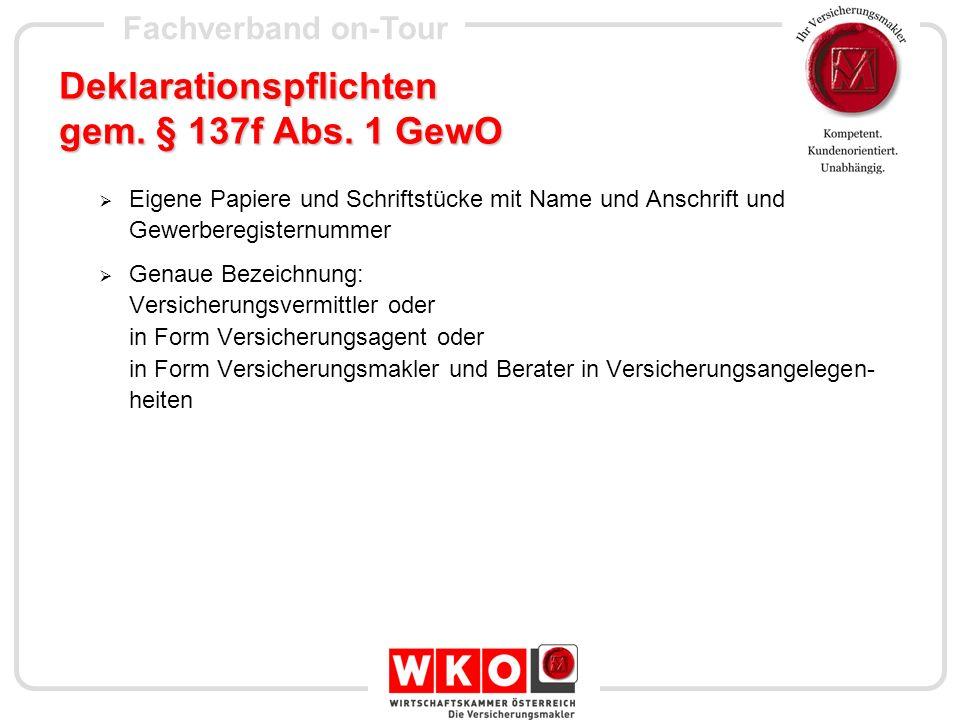 Fachverband on-Tour Informationspflichten gem.§ 137f Abs.