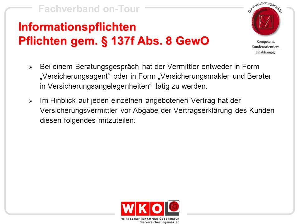 Fachverband on-Tour Informationspflichten Pflichten gem.