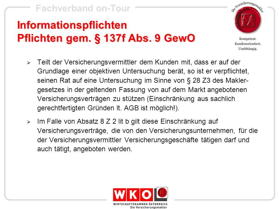 Fachverband on-Tour Dokumentationspflichten gem.§ 137g Abs.