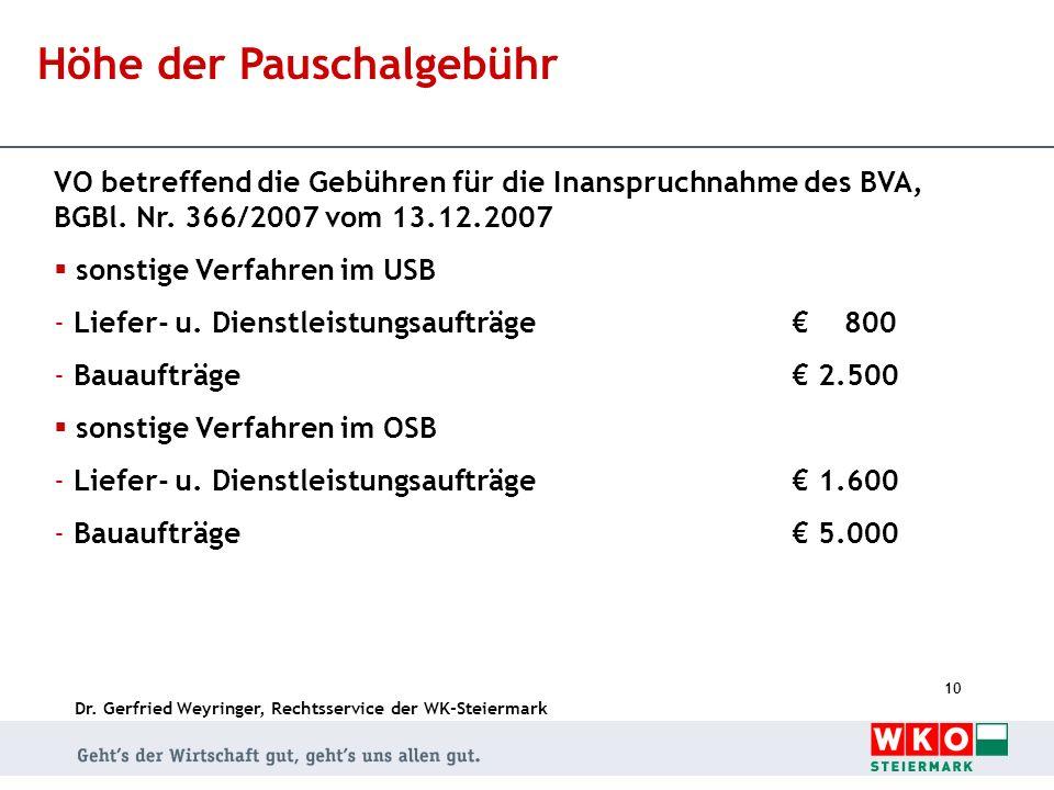 Dr. Gerfried Weyringer, Rechtsservice der WK-Steiermark 10 Höhe der Pauschalgebühr VO betreffend die Gebühren für die Inanspruchnahme des BVA, BGBl. N