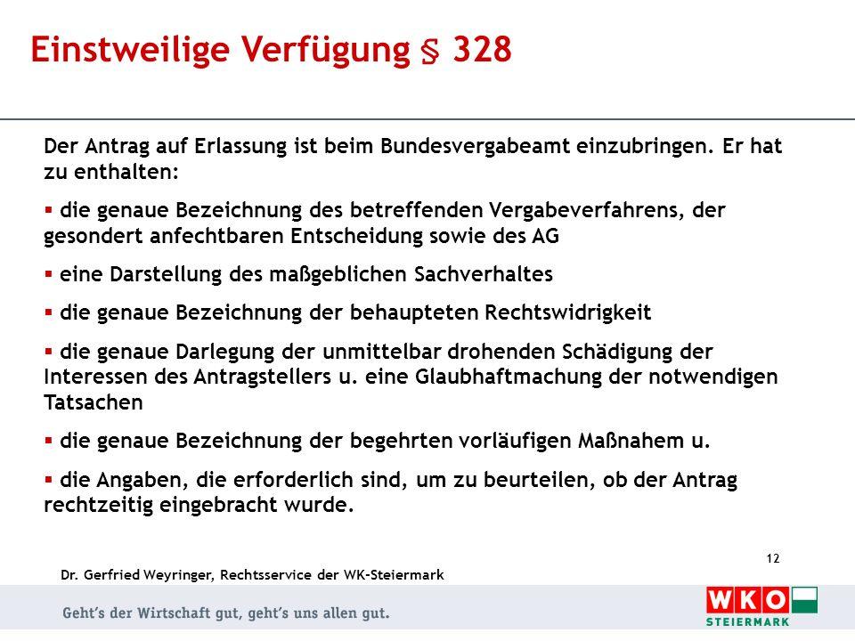 Dr. Gerfried Weyringer, Rechtsservice der WK-Steiermark 12 Einstweilige Verfügung § 328 Der Antrag auf Erlassung ist beim Bundesvergabeamt einzubringe