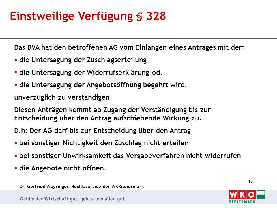 Dr. Gerfried Weyringer, Rechtsservice der WK-Steiermark 13 Einstweilige Verfügung § 328 Das BVA hat den betroffenen AG vom Einlangen eines Antrages mi
