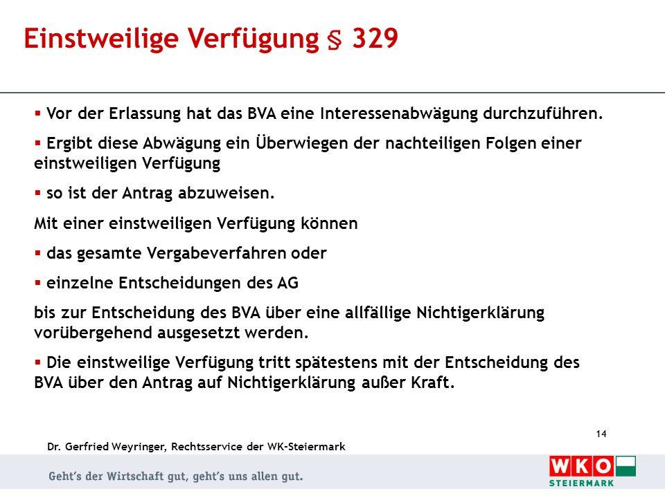 Dr. Gerfried Weyringer, Rechtsservice der WK-Steiermark 14 Einstweilige Verfügung § 329 Vor der Erlassung hat das BVA eine Interessenabwägung durchzuf