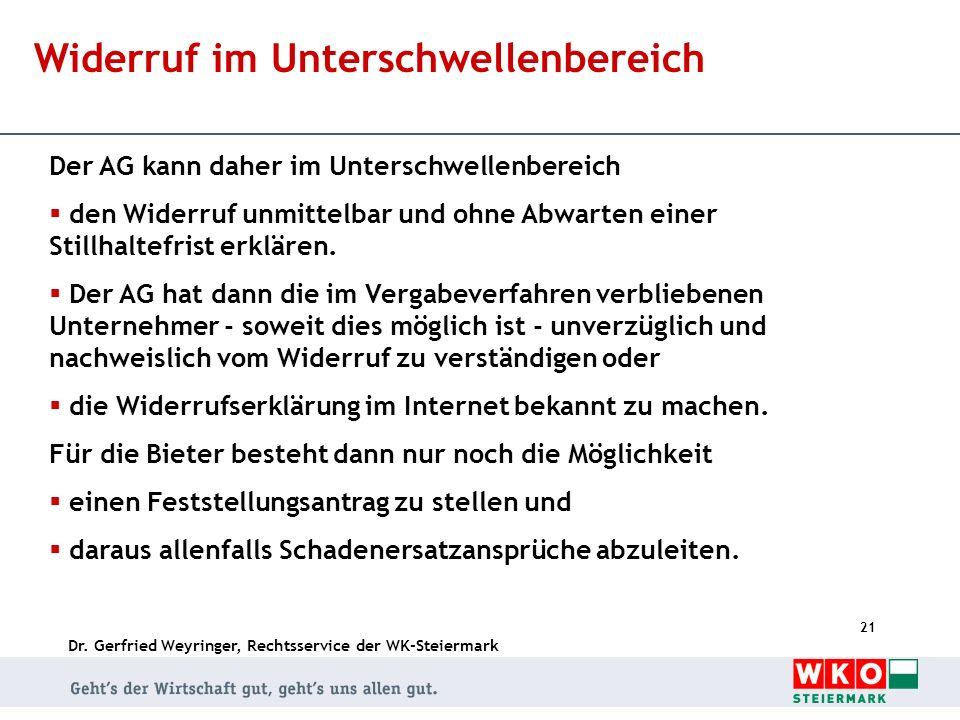 Dr. Gerfried Weyringer, Rechtsservice der WK-Steiermark 21 Widerruf im Unterschwellenbereich Der AG kann daher im Unterschwellenbereich den Widerruf u