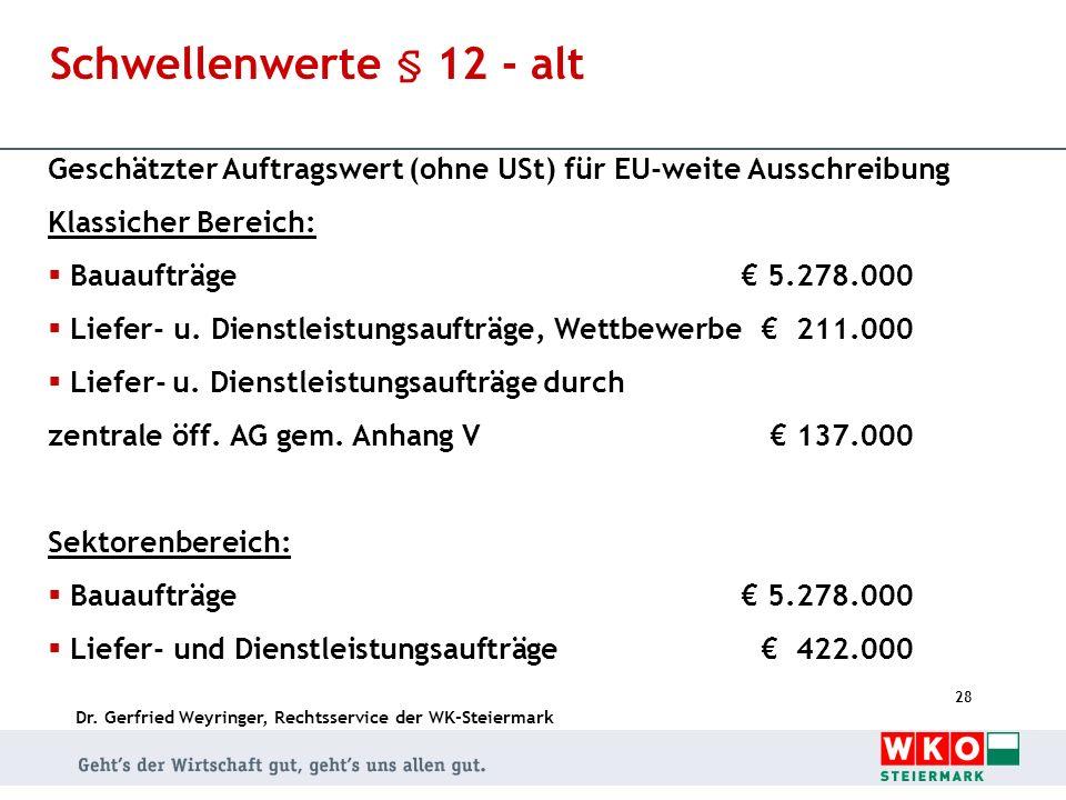Dr. Gerfried Weyringer, Rechtsservice der WK-Steiermark 28 Schwellenwerte § 12 - alt Geschätzter Auftragswert (ohne USt) für EU-weite Ausschreibung Kl