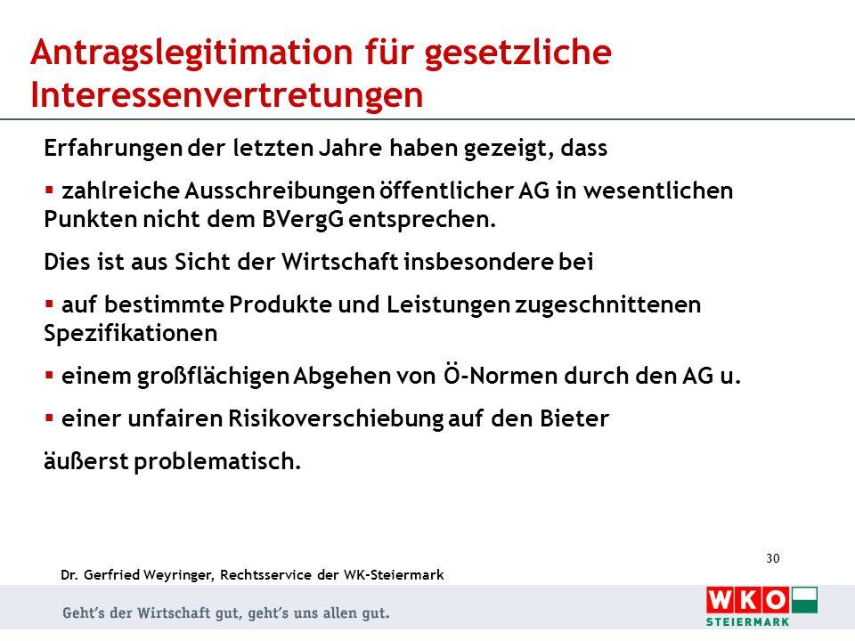 Dr. Gerfried Weyringer, Rechtsservice der WK-Steiermark 30 Antragslegitimation für gesetzliche Interessenvertretungen Erfahrungen der letzten Jahre ha
