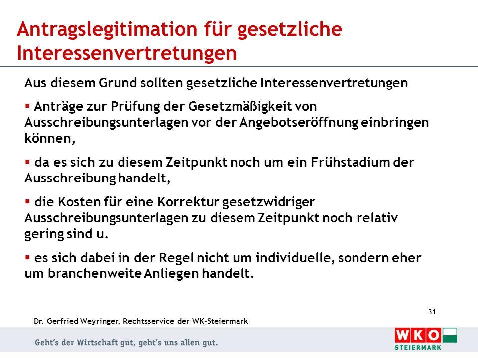 Dr. Gerfried Weyringer, Rechtsservice der WK-Steiermark 31 Antragslegitimation für gesetzliche Interessenvertretungen Aus diesem Grund sollten gesetzl