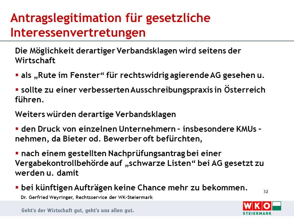 Dr. Gerfried Weyringer, Rechtsservice der WK-Steiermark 32 Antragslegitimation für gesetzliche Interessenvertretungen Die Möglichkeit derartiger Verba