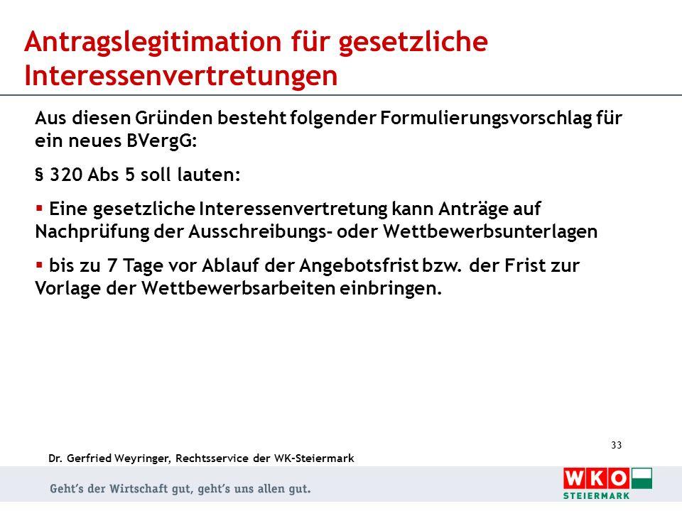 Dr. Gerfried Weyringer, Rechtsservice der WK-Steiermark 33 Antragslegitimation für gesetzliche Interessenvertretungen Aus diesen Gründen besteht folge