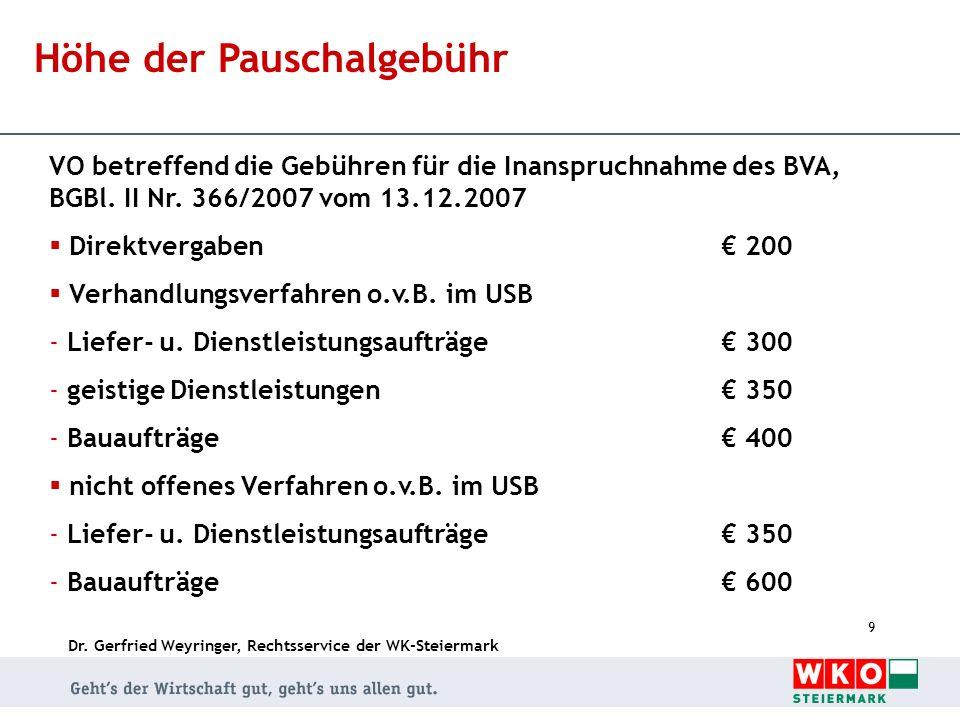Dr. Gerfried Weyringer, Rechtsservice der WK-Steiermark 9 Höhe der Pauschalgebühr VO betreffend die Gebühren für die Inanspruchnahme des BVA, BGBl. II