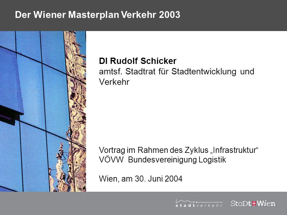 Strategieplan für Wien Vortragstitel Derzeit: städtebaulicher Wettbewerb 1.Stufe mit 10 Teams bis Mitte Mai 2004 2.Stufe mit 4 Teams bis Mitte Juli 2004 Ziel: zentraler Durchgangsbahnhof und Umwandlung von rd.