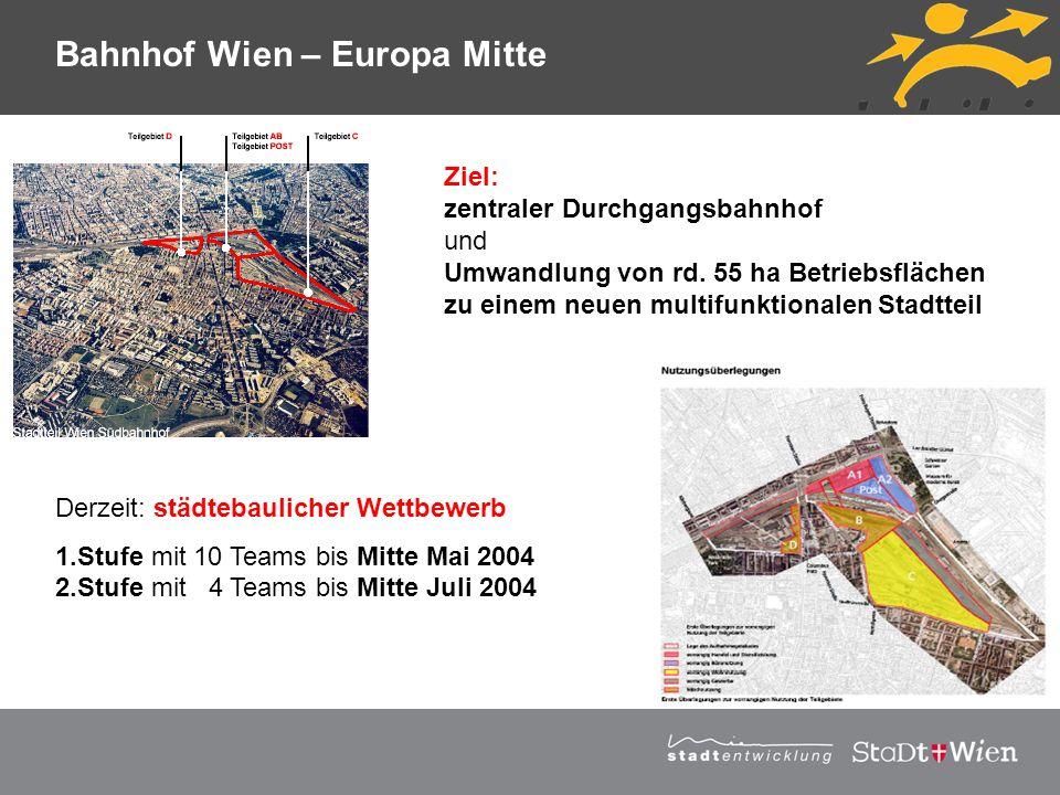 Strategieplan für Wien Vortragstitel Derzeit: städtebaulicher Wettbewerb 1.Stufe mit 10 Teams bis Mitte Mai 2004 2.Stufe mit 4 Teams bis Mitte Juli 20