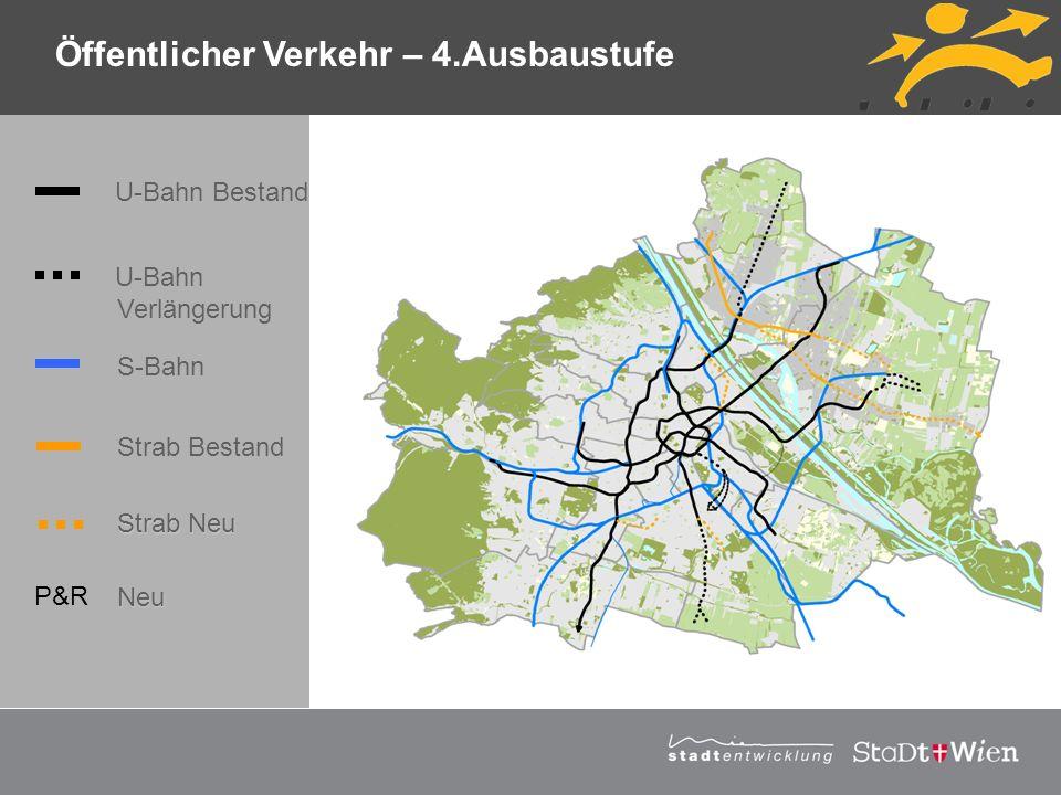 Strategieplan für Wien Vortragstitel Öffentlicher Verkehr – 4.Ausbaustufe U-Bahn Bestand U-Bahn Verlängerung S-Bahn Strab Bestand Strab Neu P&R Neu