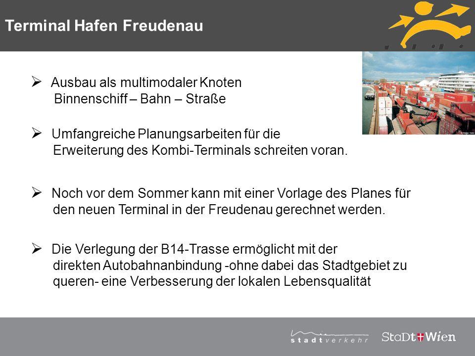 Strategieplan für Wien Vortragstitel Ausbau als multimodaler Knoten Binnenschiff – Bahn – Straße Umfangreiche Planungsarbeiten für die Erweiterung des
