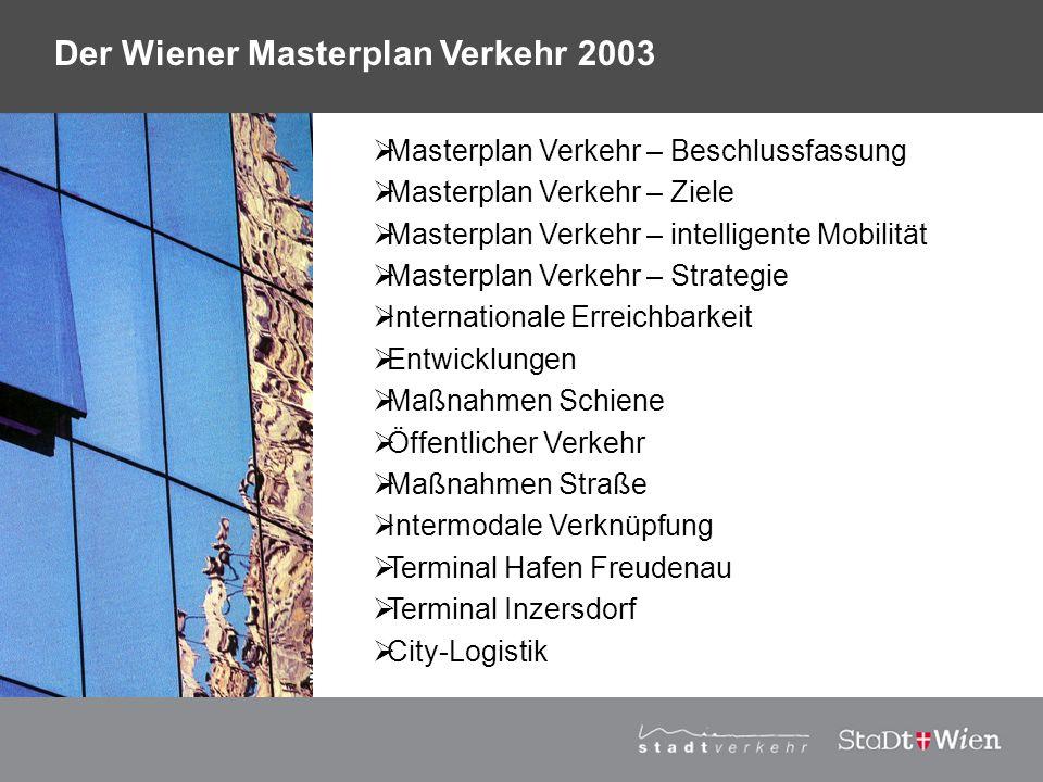 Regierungserklärung 2001: Ankündigung der Weiterentwicklung des Verkehrskonzepts 94 in einen Masterplan Verkehr 2003 Entwicklung Generalverkehrsplan Österreich 2002 Masterplan Verkehr - Positionspapier 2002 Masterplan Verkehr Wien 2003 Masterplan Verkehr – Beschlussfassung im Herbst 2003