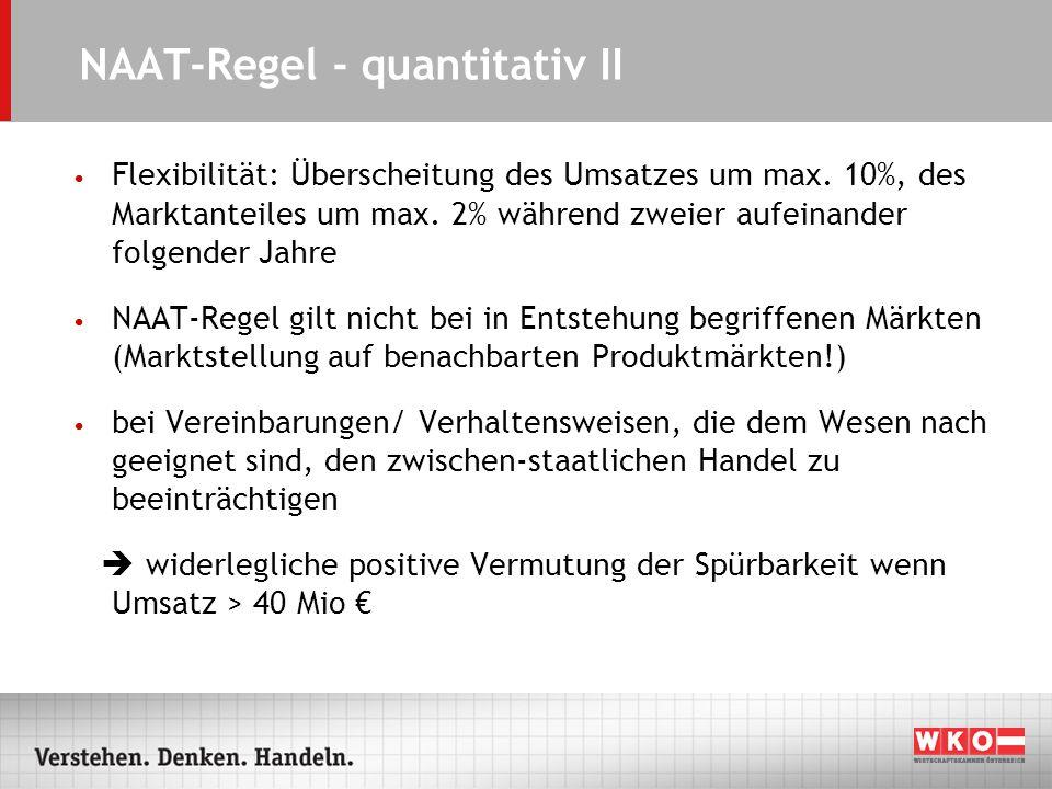 NAAT-Regel - quantitativ II Flexibilität: Überscheitung des Umsatzes um max. 10%, des Marktanteiles um max. 2% während zweier aufeinander folgender Ja