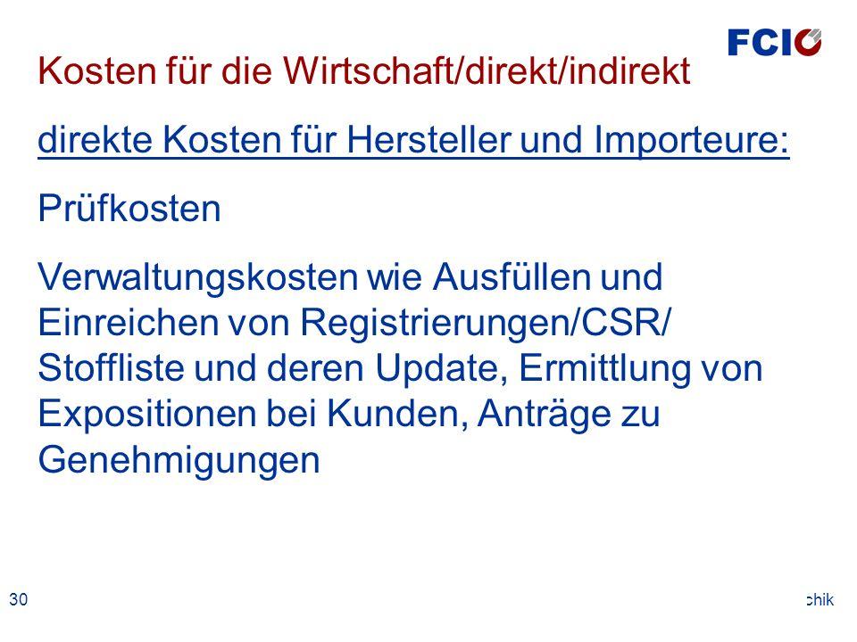30. Jänner 2004Kosten Dr. Erwin Tomschik Kosten für die Wirtschaft/direkt/indirekt direkte Kosten für Hersteller und Importeure: Prüfkosten Verwaltung