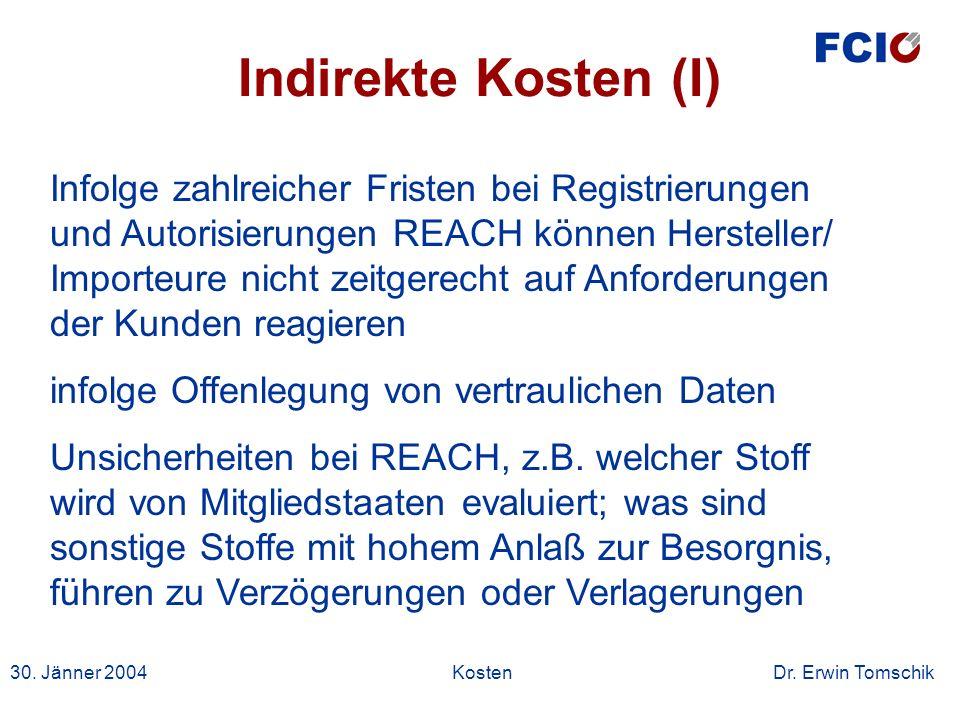 30. Jänner 2004Kosten Dr. Erwin Tomschik Infolge zahlreicher Fristen bei Registrierungen und Autorisierungen REACH können Hersteller/ Importeure nicht