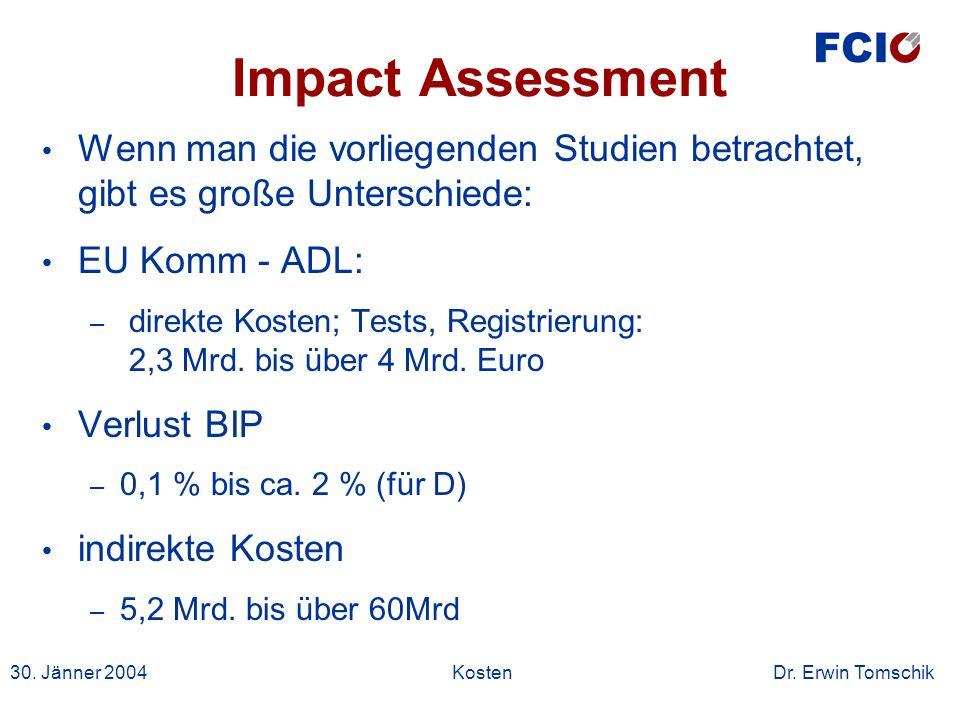 30. Jänner 2004Kosten Dr. Erwin Tomschik Impact Assessment Wenn man die vorliegenden Studien betrachtet, gibt es große Unterschiede: EU Komm - ADL: –