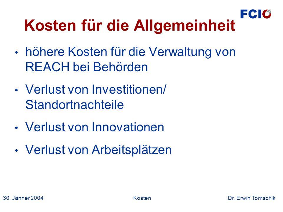 30. Jänner 2004Kosten Dr. Erwin Tomschik Kosten für die Allgemeinheit höhere Kosten für die Verwaltung von REACH bei Behörden Verlust von Investitione
