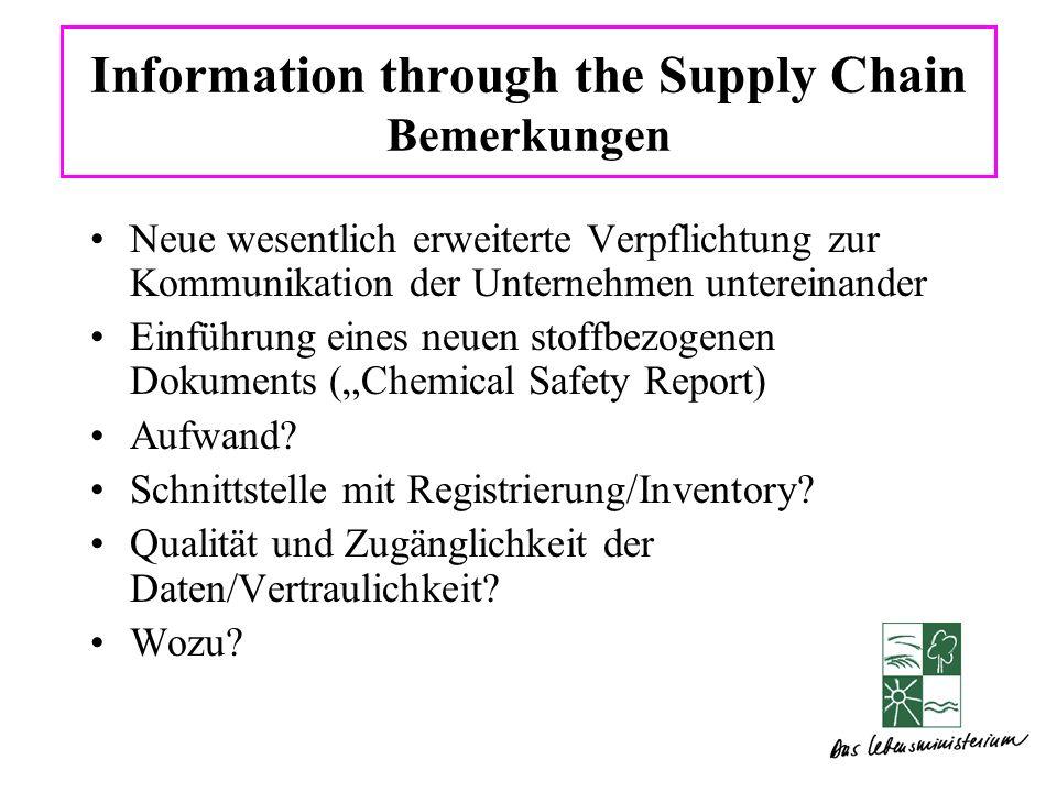 Information through the Supply Chain Bemerkungen Neue wesentlich erweiterte Verpflichtung zur Kommunikation der Unternehmen untereinander Einführung eines neuen stoffbezogenen Dokuments (Chemical Safety Report) Aufwand.