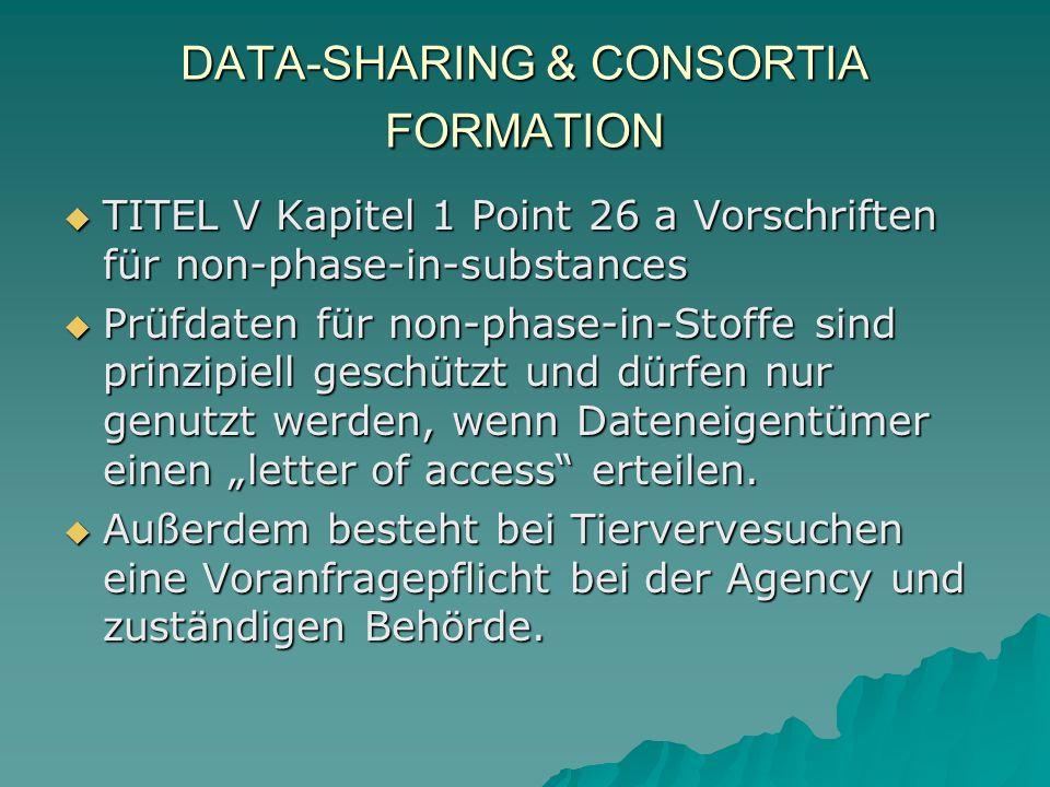 DATA-SHARING & CONSORTIA FORMATION TITEL V Kapitel 1 Point 26 a Vorschriften für non-phase-in-substances TITEL V Kapitel 1 Point 26 a Vorschriften für non-phase-in-substances Prüfdaten für non-phase-in-Stoffe sind prinzipiell geschützt und dürfen nur genutzt werden, wenn Dateneigentümer einen letter of access erteilen.