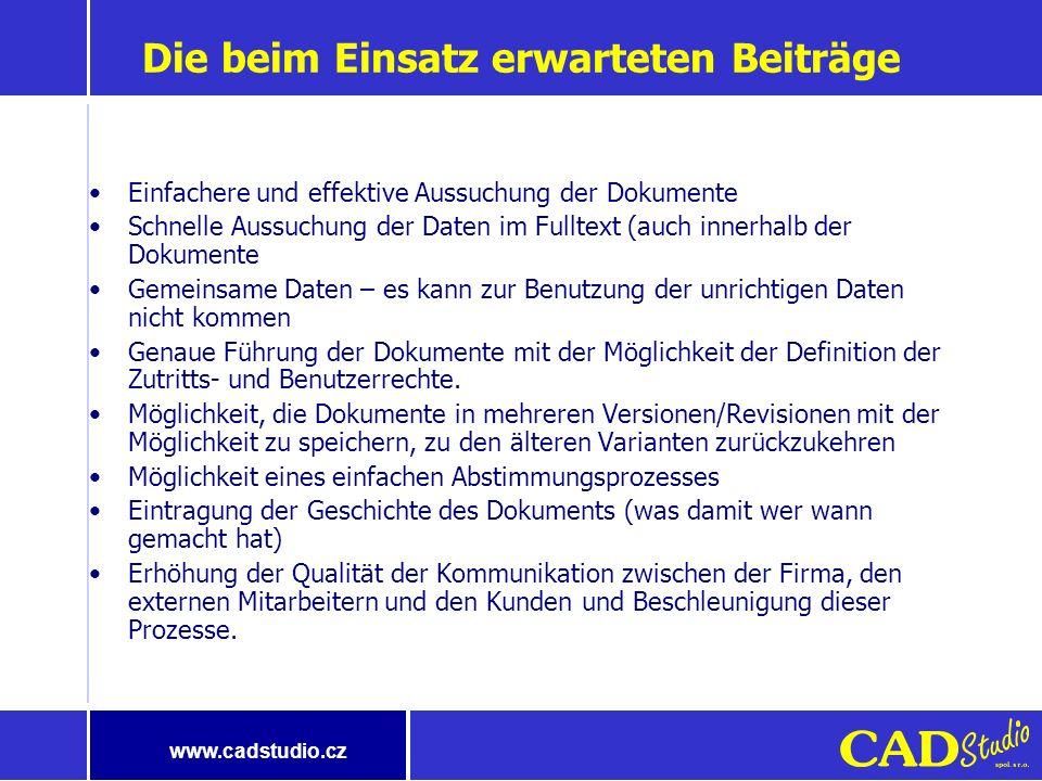 www.cadstudio.cz System für die Verwaltung der elektronischen Dokumente