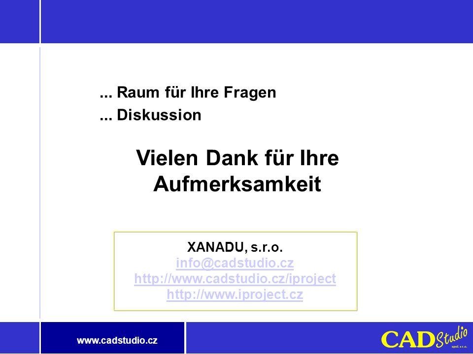www.cadstudio.cz Die beim Einsatz erwarteten Beiträge Einfachere und effektive Aussuchung der Dokumente Schnelle Aussuchung der Daten im Fulltext (auc