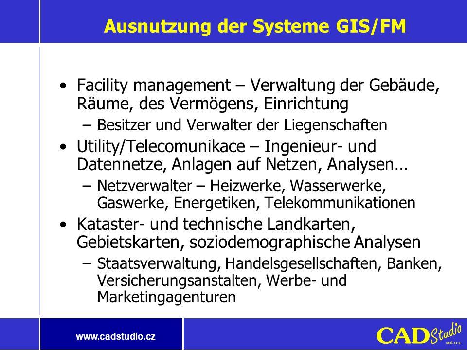 www.cadstudio.cz Brauche ich GIS? Geographisch gebundene Informationen (80% Betriebsinformationen) Demographische Daten Meteorologische Erscheinungen