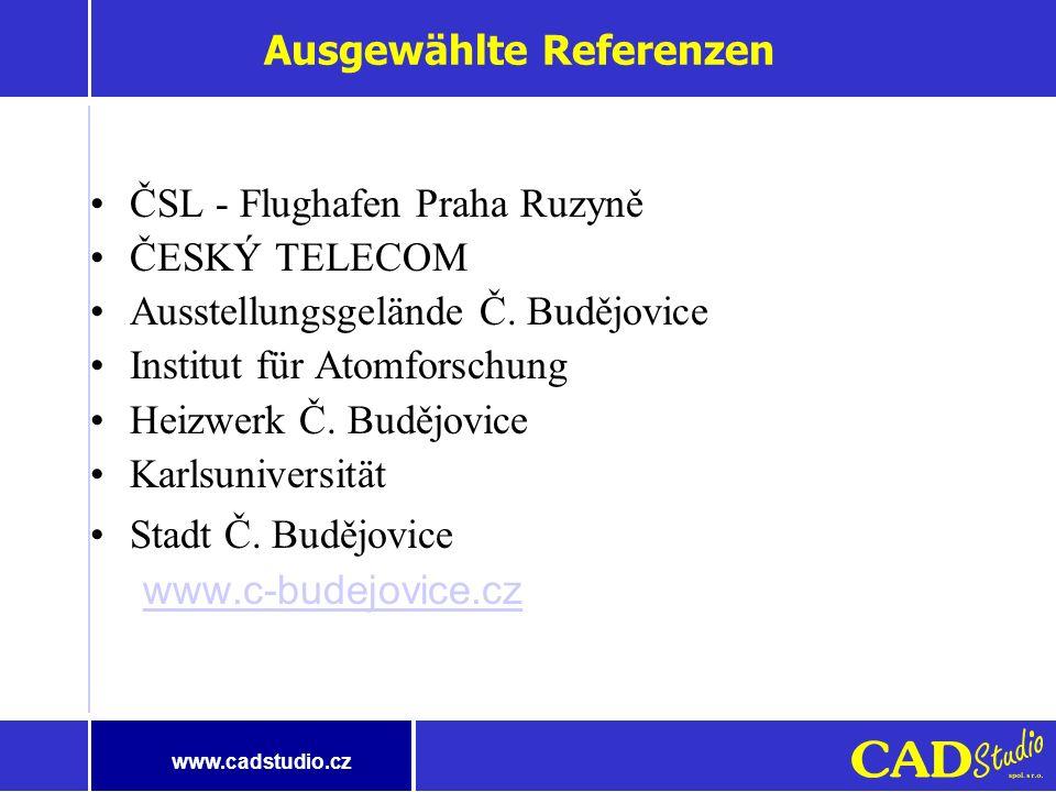 www.cadstudio.cz Schlüsselvorteile der angebotenen Lösung Maximale Ausnutzung der Informationen auf allen Ebenen – Visualisierung der Daten der Dateni