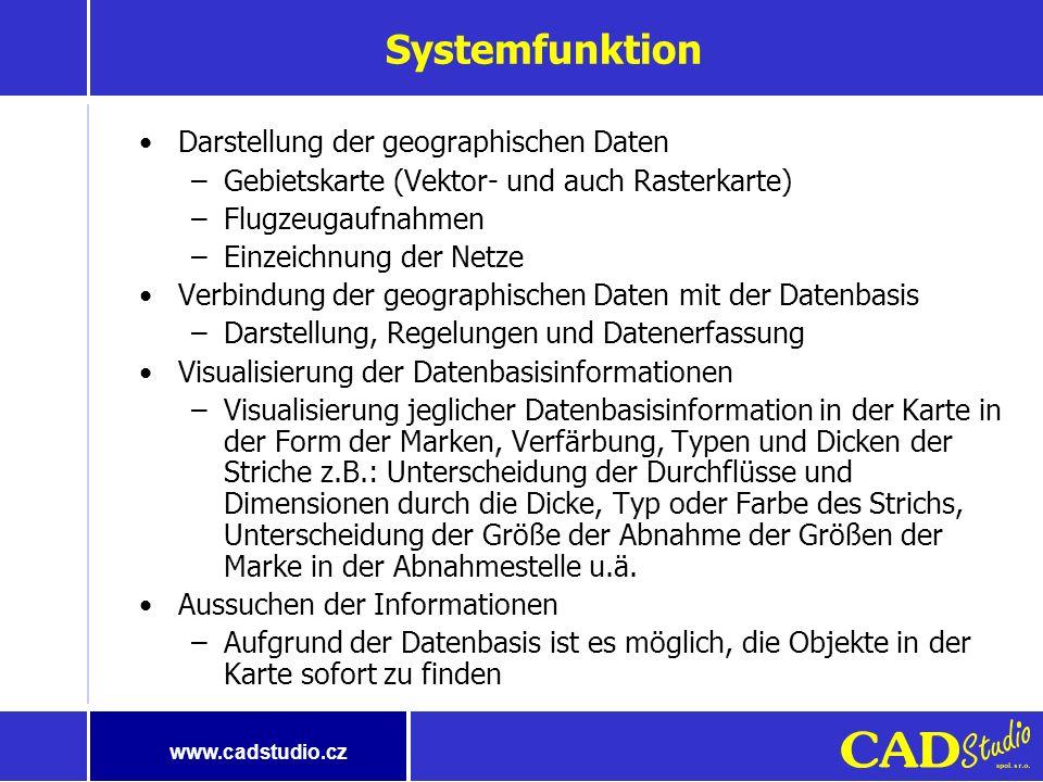 www.cadstudio.cz GIS/FM-Benutzer haben unterschiedliche Bedürfnisse Projektion/GIS/Karten Typisch <1% Menschen Datenbildung und -wartung Spezialisiert