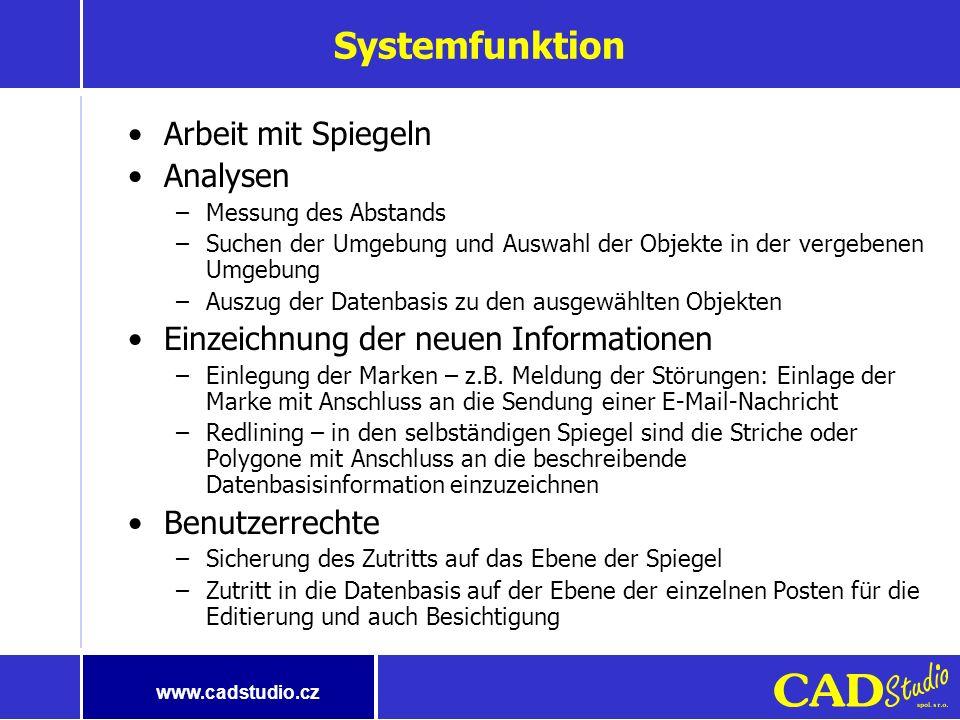 www.cadstudio.cz Systemfunktion Darstellung der geographischen Daten –Gebietskarte (Vektor- und auch Rasterkarte) –Flugzeugaufnahmen –Einzeichnung der