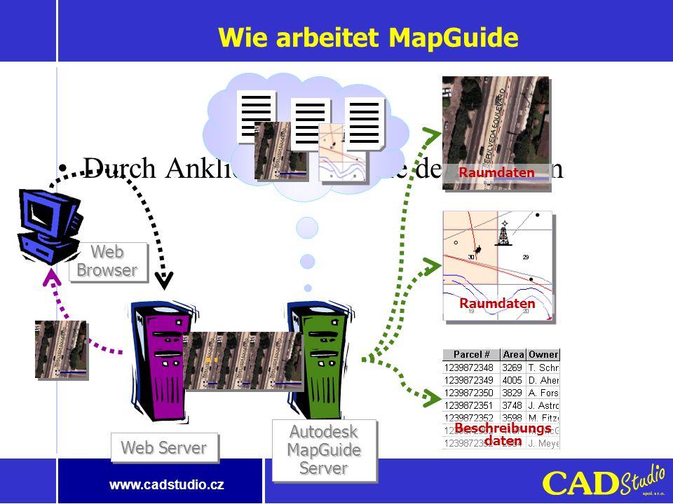 www.cadstudio.cz Intranetsystem Niedrige Ansprüche auf Endstationen Einfache Betätigung Standardisierte Technologien – Offentheit und Möglichkeit der