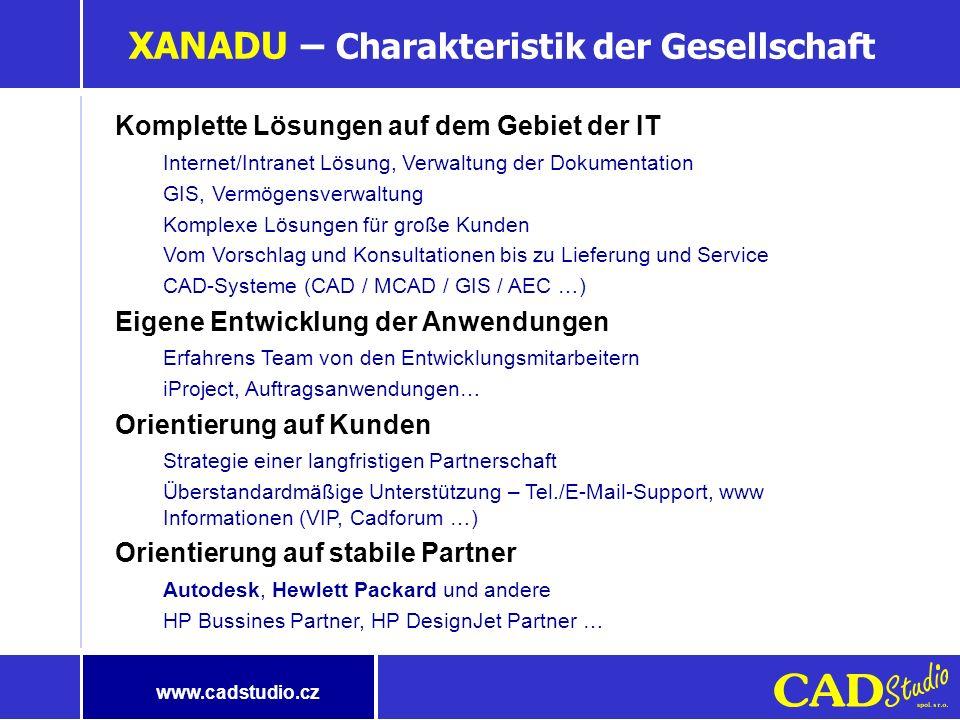 Programm der Präsentation Vorstellung der Gesellschaft Xanadu Verwaltung der Dokumente GIS/FM-Systeme Diskussion