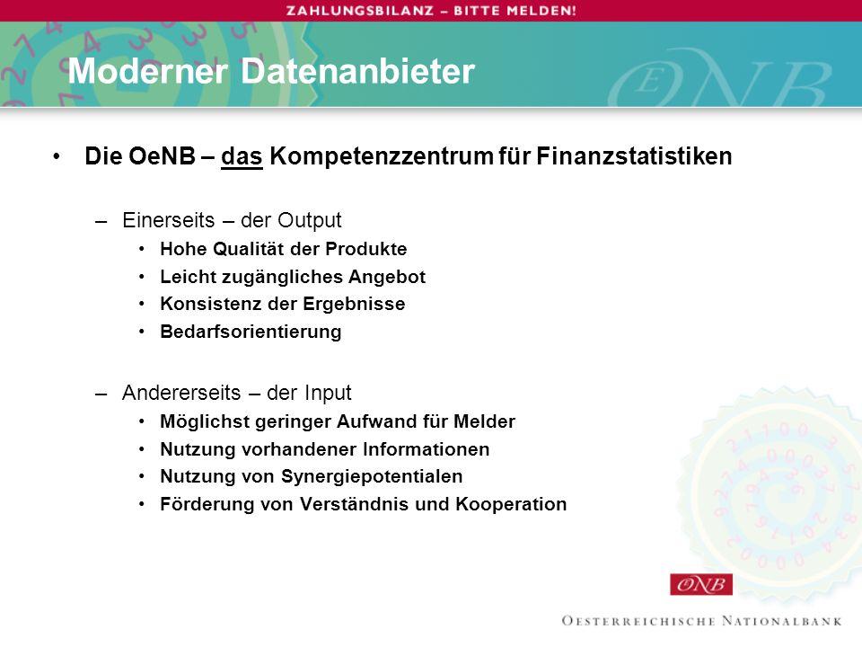 Die OeNB – ein moderner Datenanbieter Der rechtliche Rahmen der OeNB-Statistiken Das Informationsangebot der OeNB Die Konsumenten der Statistikprodukte Die internationalen Bedingungen für Statistikproduzenten Die Umsetzung in Österreich ab 1.Jänner 2006 Die Kooperation mit Statistik Österreich