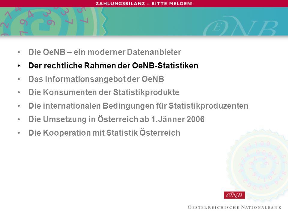 Rechtliche Grundlagen Alle Statistiken der OeNB beruhen auf –österreichischen, –europäischen oder –internationalen Verpflichtungen.