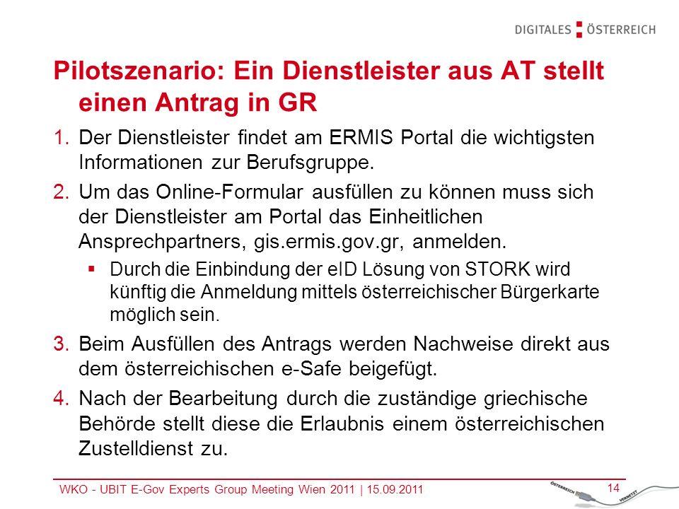 WKO - UBIT E-Gov Experts Group Meeting Wien 2011   15.09.2011 14 Pilotszenario: Ein Dienstleister aus AT stellt einen Antrag in GR 1.Der Dienstleister