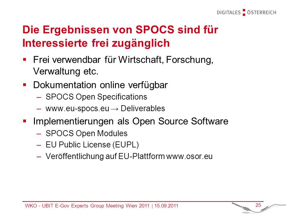 WKO - UBIT E-Gov Experts Group Meeting Wien 2011   15.09.2011 25 Die Ergebnissen von SPOCS sind für Interessierte frei zugänglich Frei verwendbar für