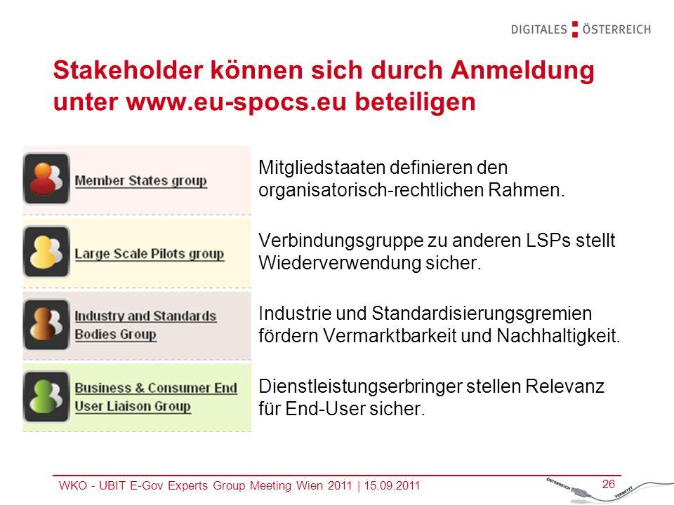 WKO - UBIT E-Gov Experts Group Meeting Wien 2011   15.09.2011 26 Stakeholder können sich durch Anmeldung unter www.eu-spocs.eu beteiligen Mitgliedstaa