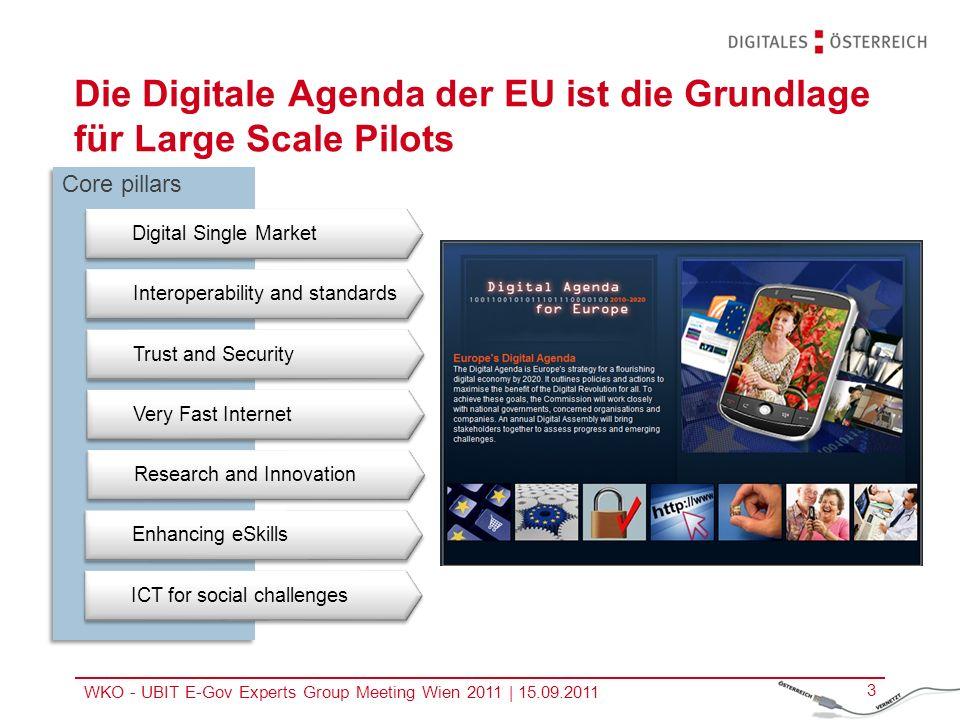 WKO - UBIT E-Gov Experts Group Meeting Wien 2011 | 15.09.2011 4 Large Scale Pilots (LSP) dienen dazu, die Digitale Agenda in die Praxis umzusetzen Finanziert aus der Säule Policy Support Programme (PSP) des Competitiveness and Innovation Programms (CIP), LSPs haben 3 Jahre Laufzeit Volumen jeweils rund 15 Mio.