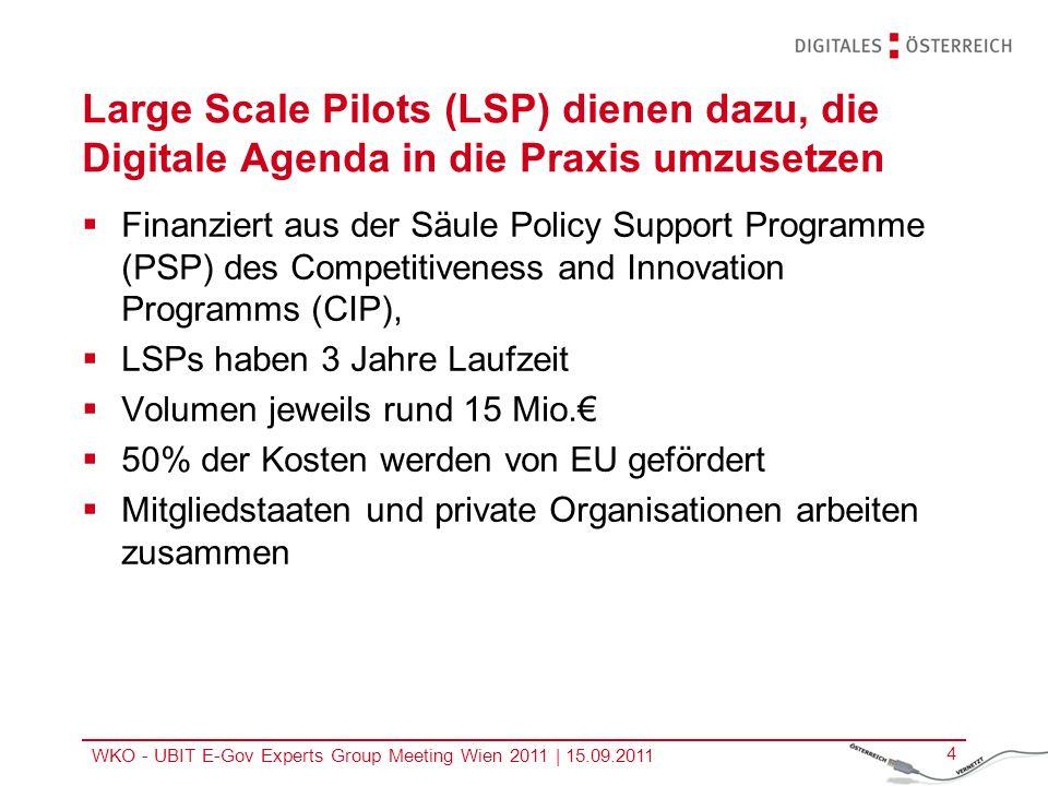 WKO - UBIT E-Gov Experts Group Meeting Wien 2011 | 15.09.2011 5 Aktuelle EU Large Scale Pilots Large Scale Pilot PEPPOL Large Scale Pilot STORK Electronic Identity www.peppol.eu www.eid-stork.eu Large Scale Pilot SPOCS Service Directive www.eu-spocs.eu Large Scale Pilot epSOS eHealth www.epsos.eu Electronic Procurement Large Scale Pilot e-CODEX e-Justice Communication www.e-codex.eu