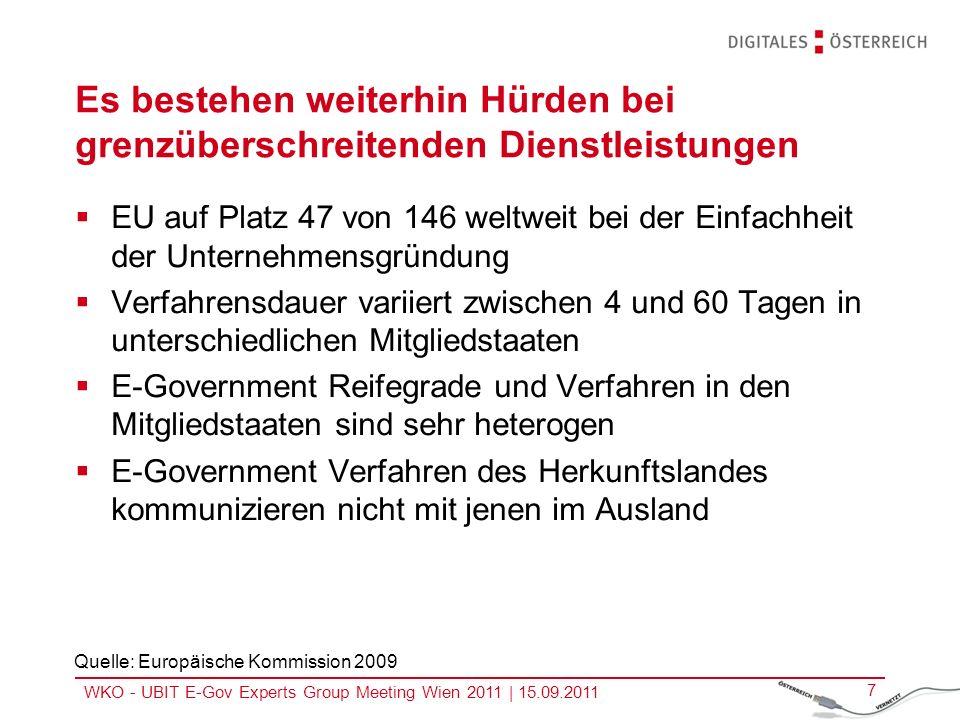 WKO - UBIT E-Gov Experts Group Meeting Wien 2011 | 15.09.2011 8 SPOCS soll leistungsfähigere und einfachere E-Government Verfahren demonstrieren Ziel ist die Erweiterung und Optimierung der Implementierungen insb.