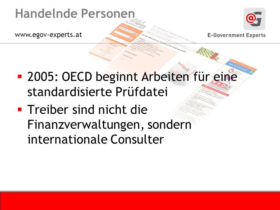 www.egov-experts.at Handelnde Personen 2005: OECD beginnt Arbeiten für eine standardisierte Prüfdatei Treiber sind nicht die Finanzverwaltungen, sondern internationale Consulter