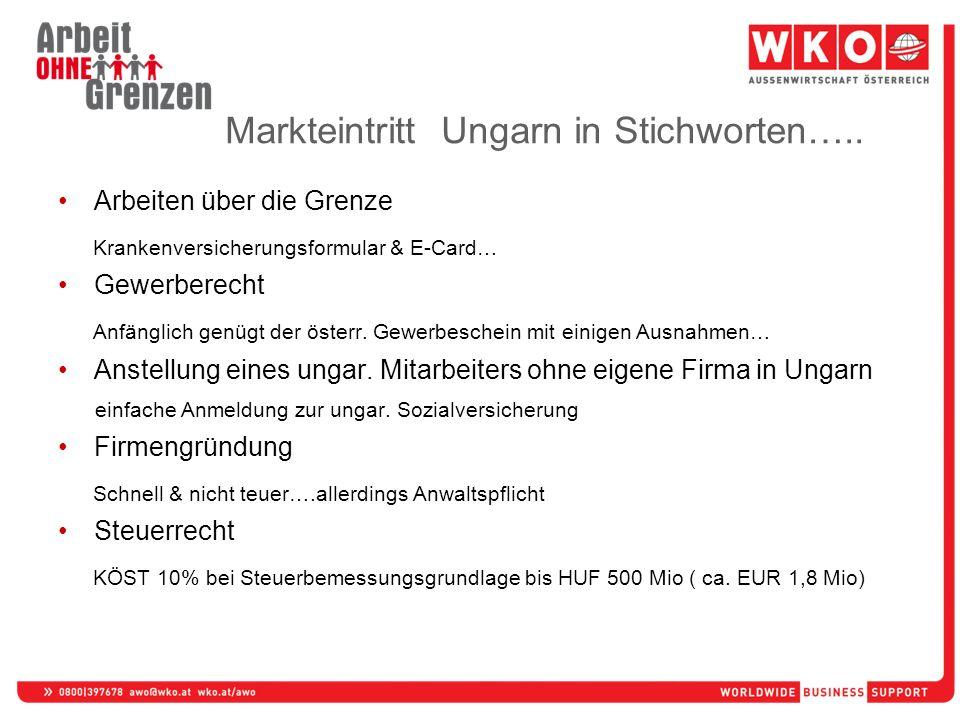 Markteintritt Ungarn in Stichworten….. Arbeiten über die Grenze Krankenversicherungsformular & E-Card… Gewerberecht Anfänglich genügt der österr. Gewe